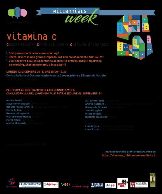 Millenials week: Vitamina C – Cooperazione, condivisione e cultura d'impresa