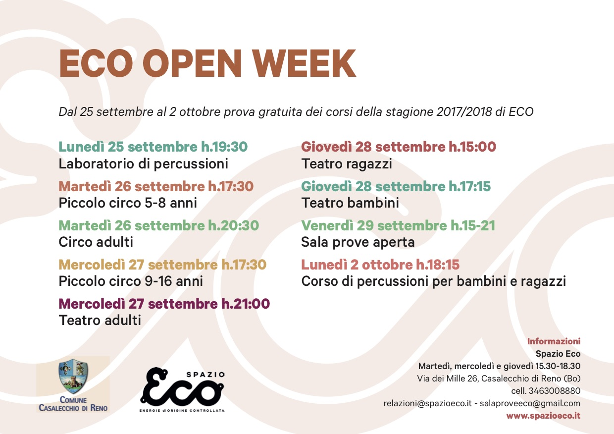 Eco Open Week – al via le lezioni di prova